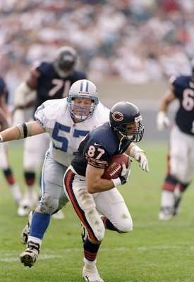 14 Sep 1997:  Linebacker Stephen Boyd #57 of the Detroit Lions and wide receiver Ricky Proehl #87 of the Chicago Bears in action during a game at Soldier Field in Chicago, Illinois.  The Lions won the game 32-7.    Mandatory Credit: Jonathan Daniel  /Allsport