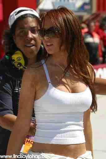 Lindsay Lohan Hot White Tank Top