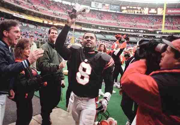 Jeff Blake Celebrates At Riverfront Stadium