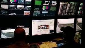 Behind The Scenes With The NASCAR On NBC Graphics Crew In One Of 4 Production Trailers.
