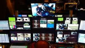 Behind The Scenes With NASCAR On NBC In One Of 4 Production Trailers.