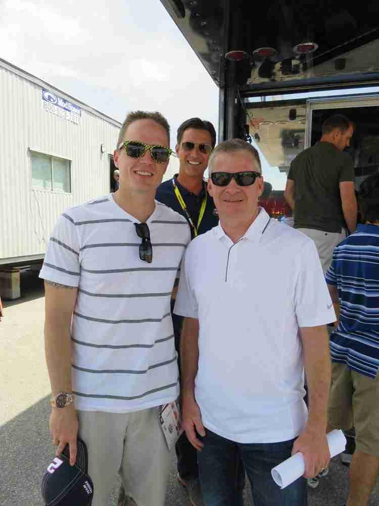 Rick Allen of NBC photobombing me and Jeff Burton.