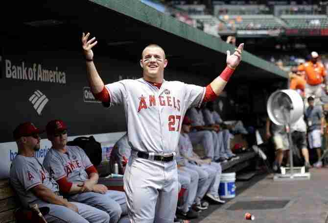 Mike Trout After He Hit A Home Run