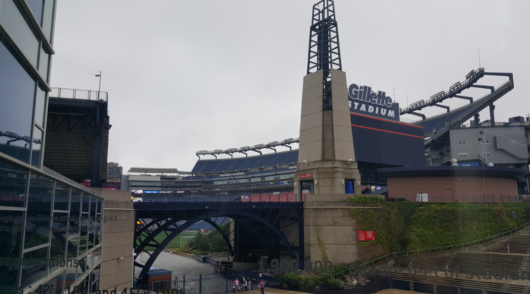 The view of Gillette Stadium from The Hall at Patriots Place
