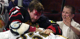 NHL Enforcers - Bob Probert Administers A Beating As A Young Fan Cheers Him On