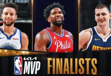 NBA Awards 2021 Graphic Of MVP FInalists Curry. Joel Embiid, Nikola Jokic