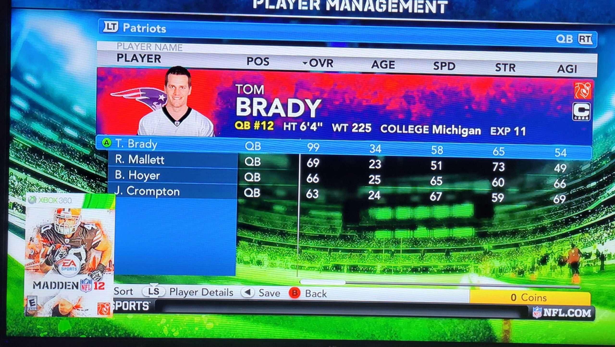 Tom Brady 2012 Madden Profile Card Image