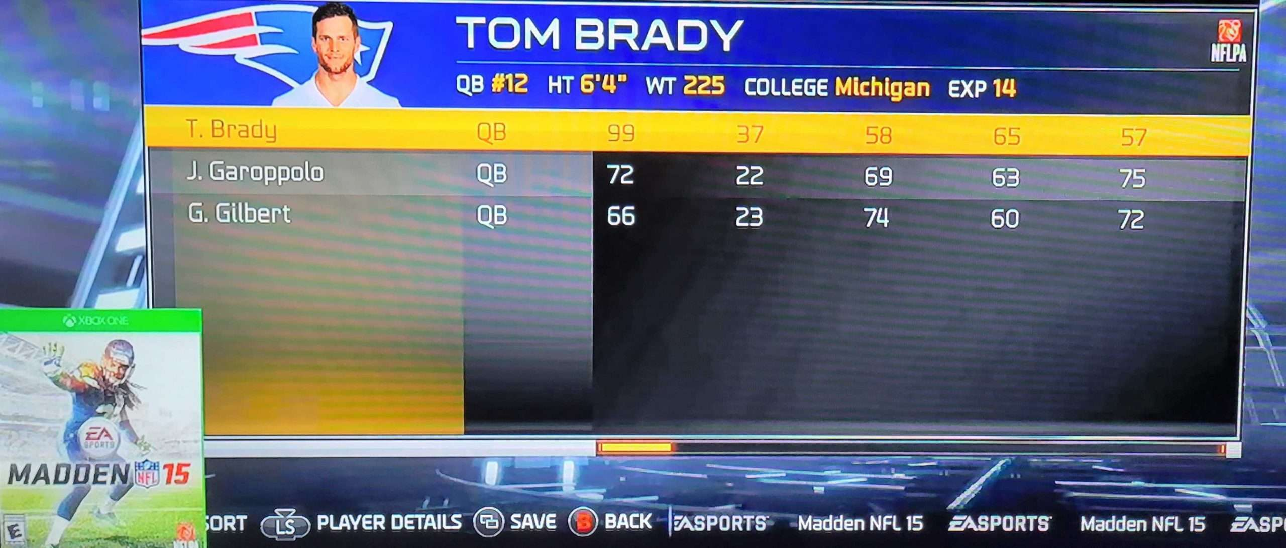 Tom Brady Madden 15 Ratings