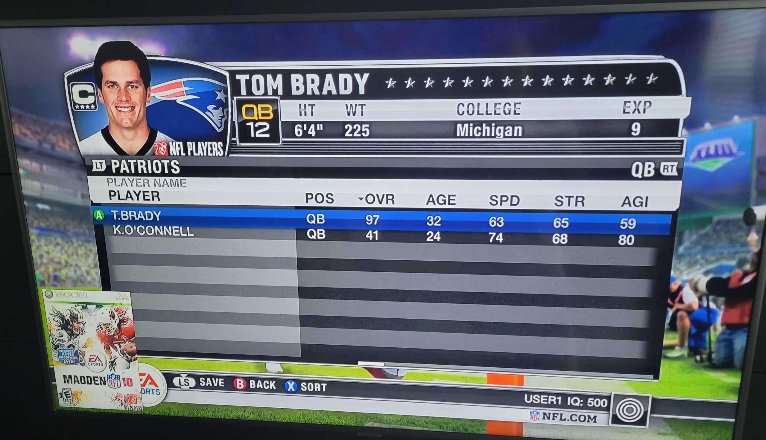 Madden 2010 Brady Rating Card