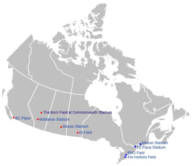 CFL Teams Map Graphic