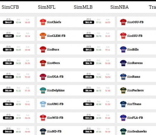 Sports Stocks Screenshot
